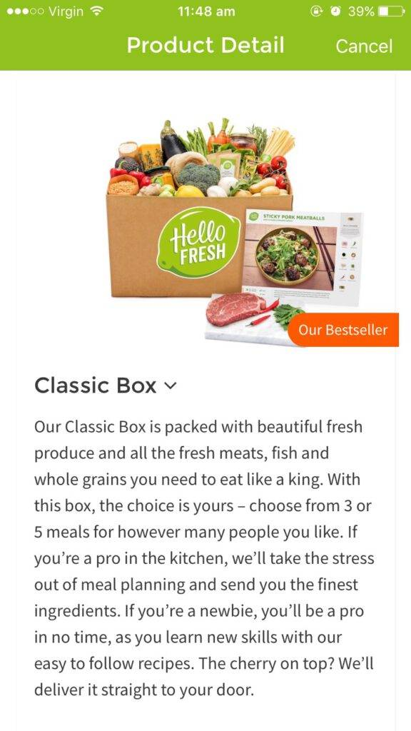 HelloFresh App Food Boxes