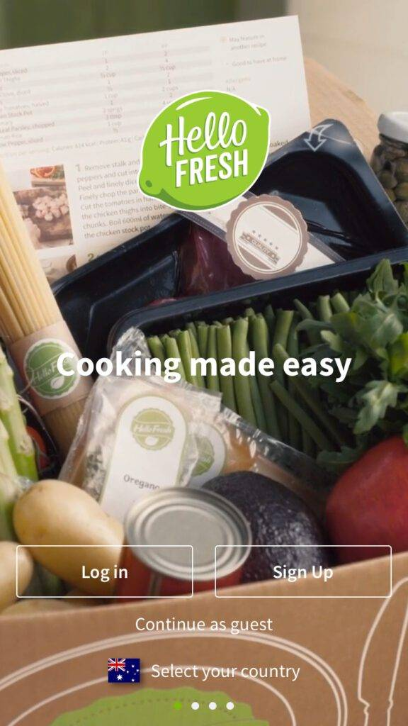 HelloFresh App Login Page