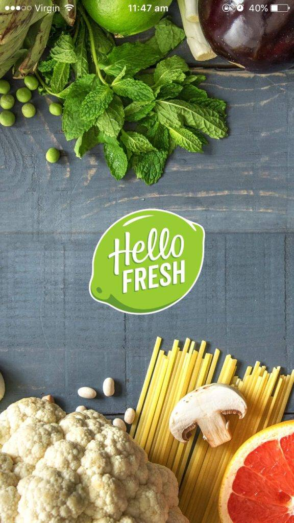 HelloFresh App Starting Page