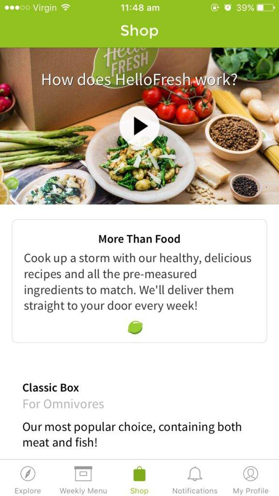 HelloFresh App The Shop