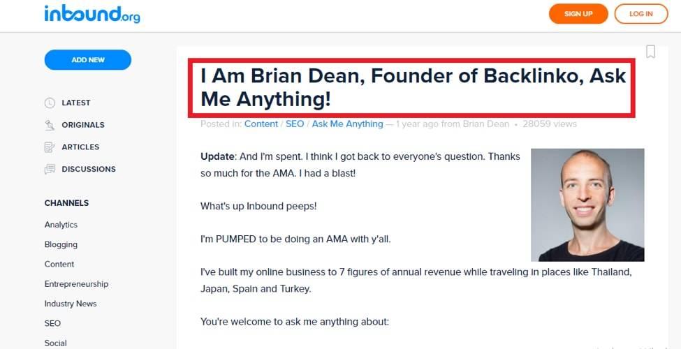 Brian Dean AMA Inbound.org