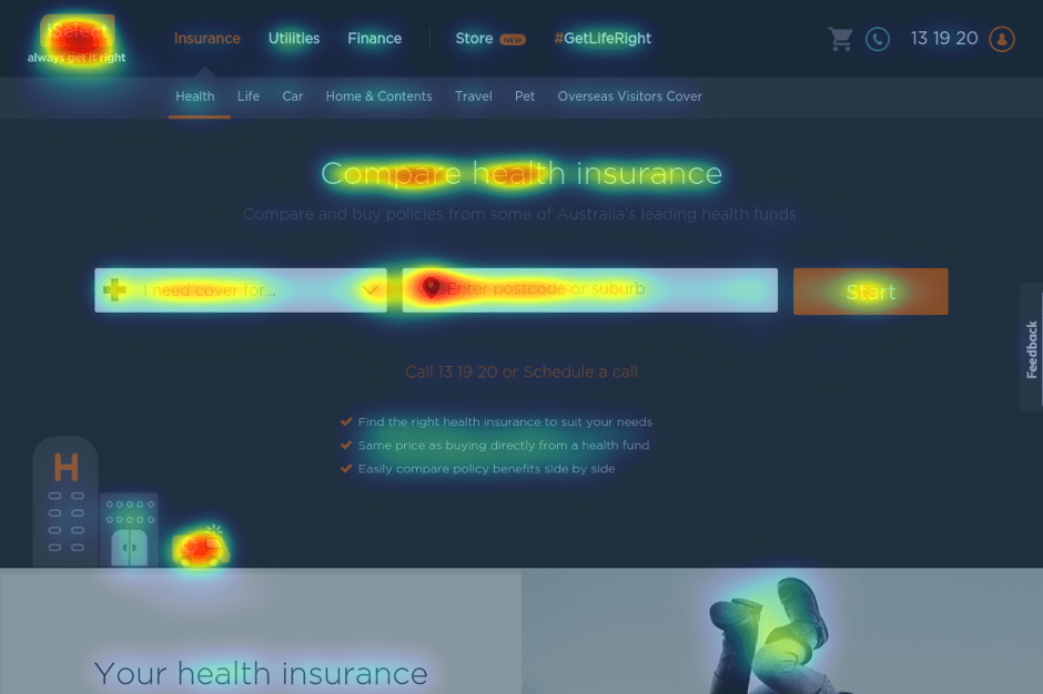 Compare Insurance Page Heat Map