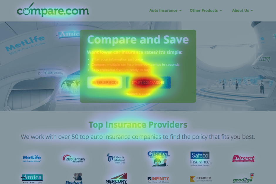 Compare.com homepage heat map