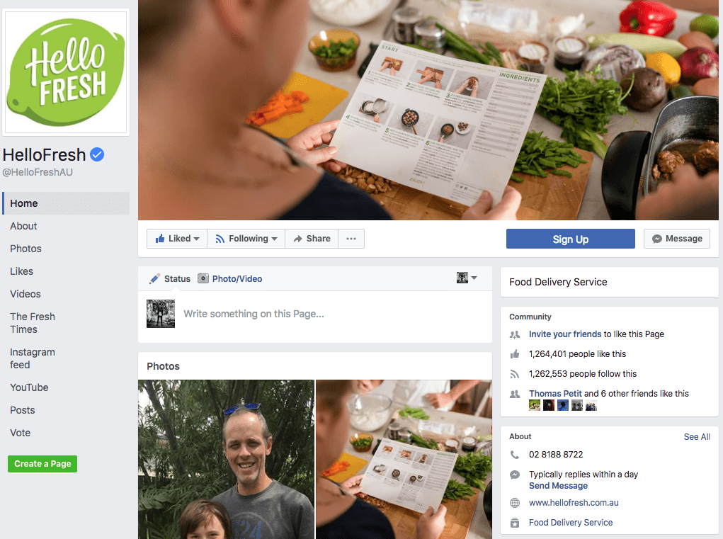HelloFresh Facebook Page