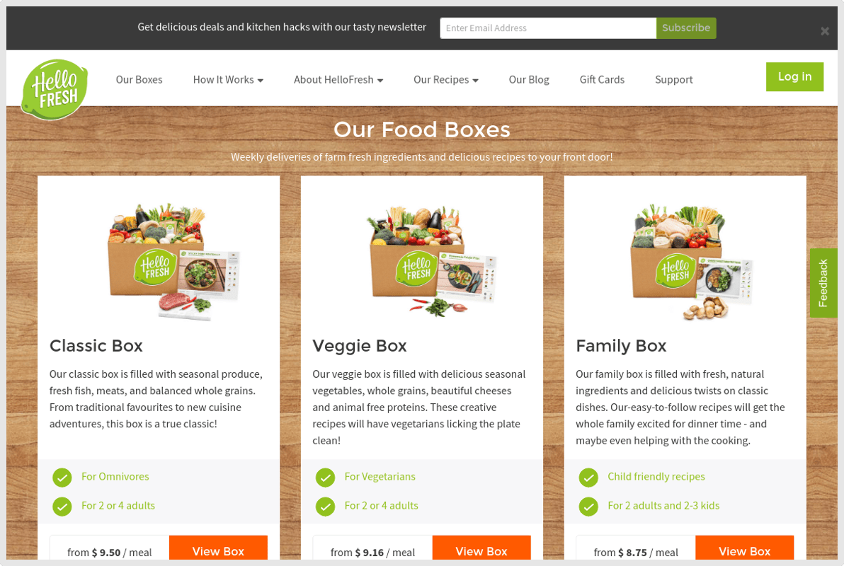 HelloFresh Bood Boxes