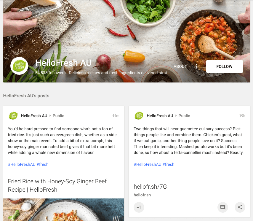 HelloFresh Google+ Page