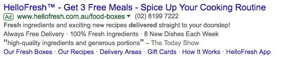 HelloFresh Adwords Ad