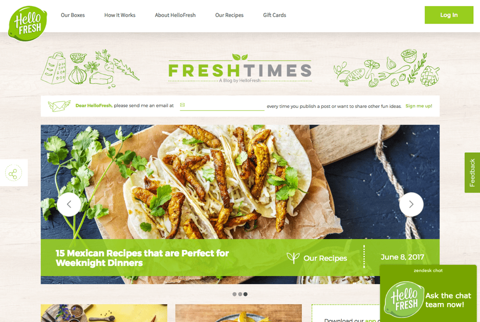 HelloFresh Blog Homepage