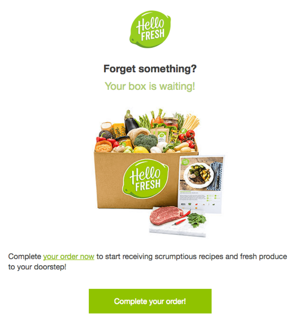 HelloFresh Cart Abandonment Email