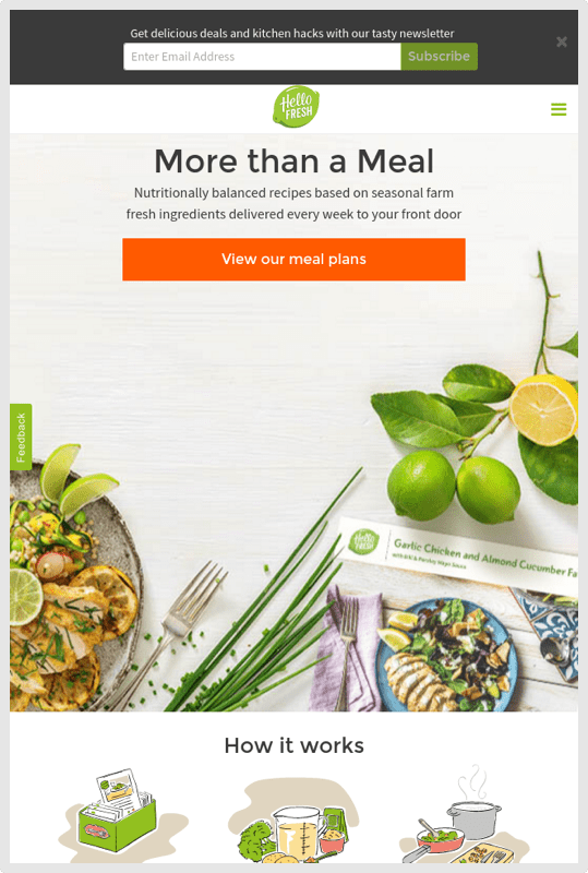 HelloFresh Mobile Homepage