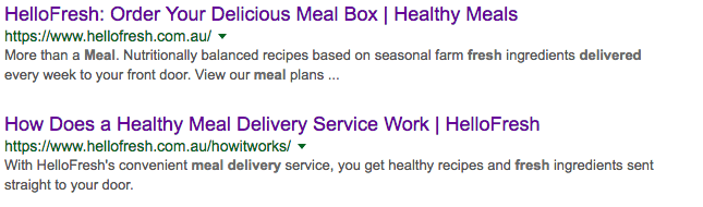HelloFresh SERPs Titles