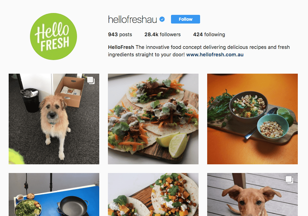 HelloFresh Instagram Page