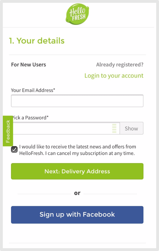HelloFresh Mobile Checkout
