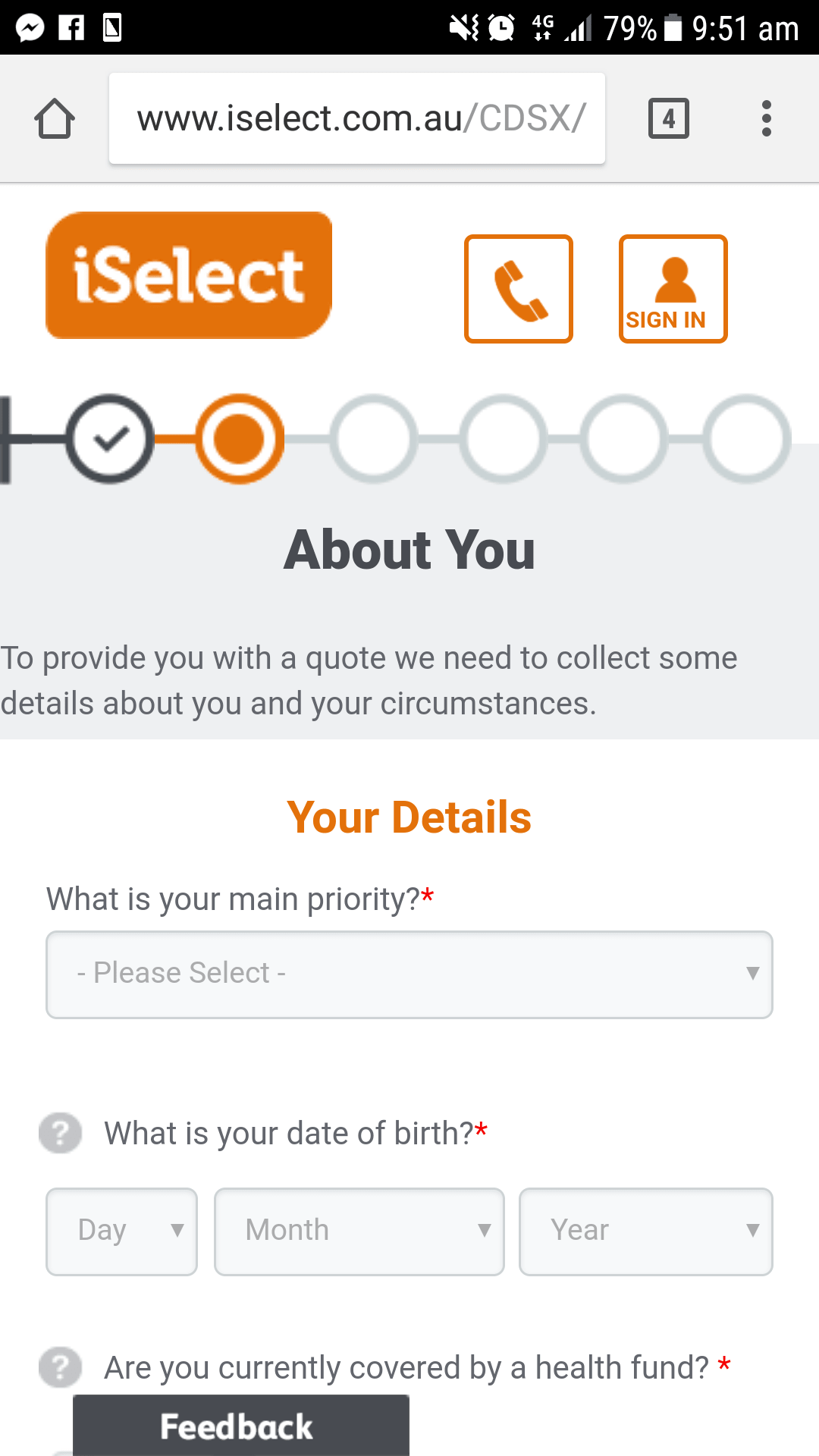 Mobile Form Page