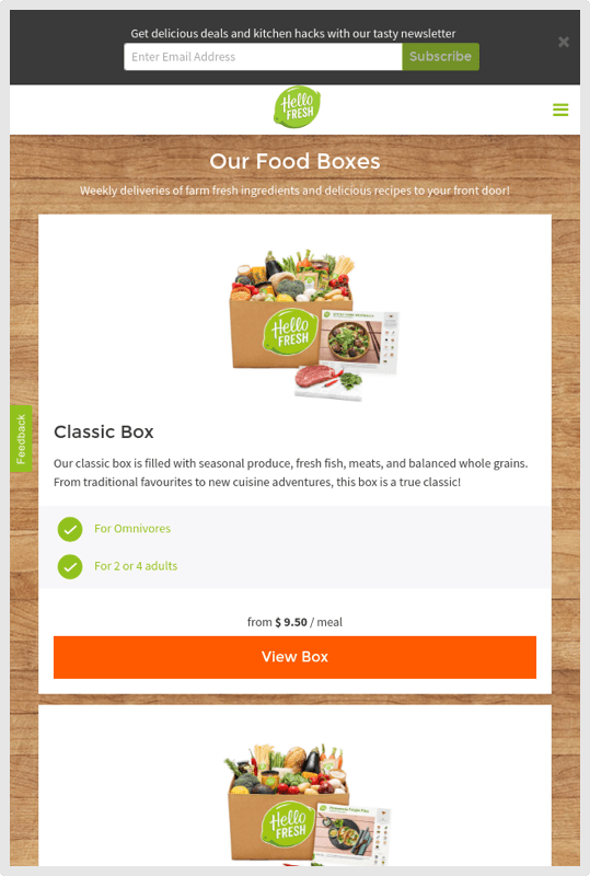 HelloFresh Mobile Select a Box Size