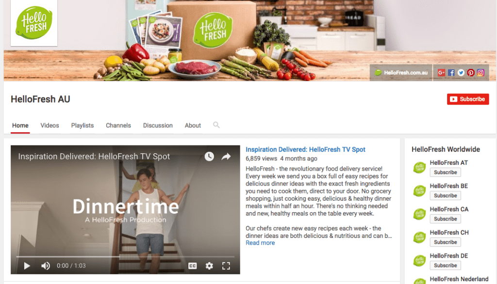 HelloFresh Youtube Page