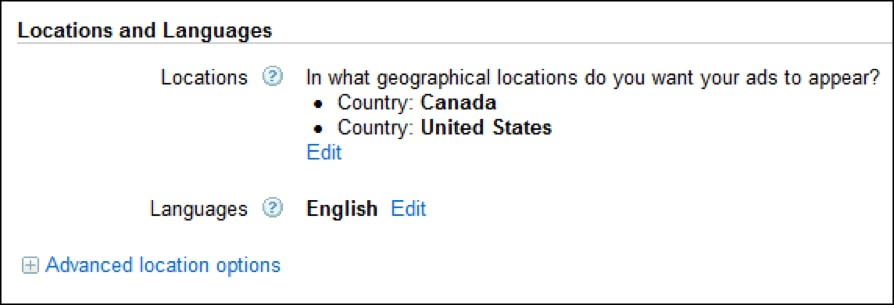 adwords locations and languages