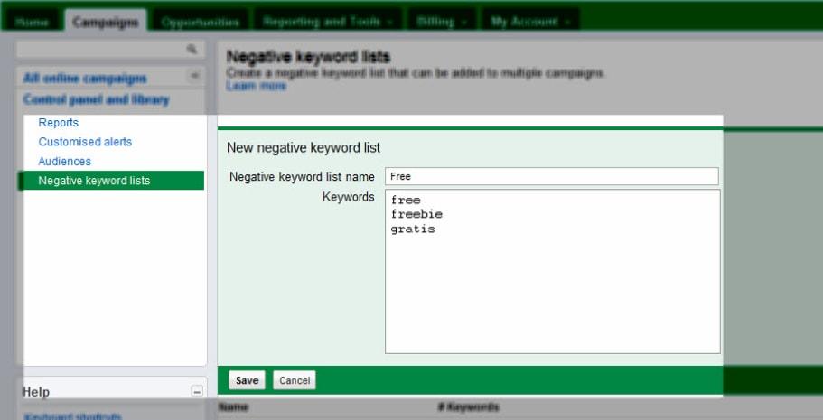 negative keywords list