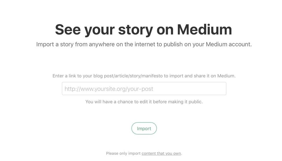 Medium import stories