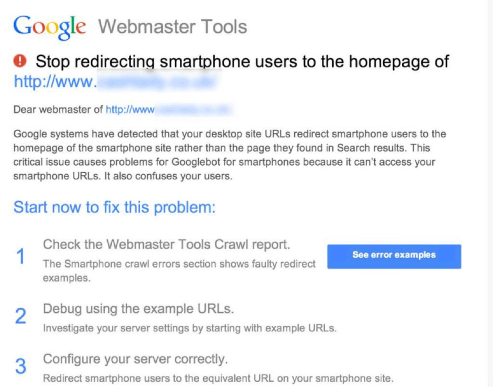 webmaster tools redirect warning