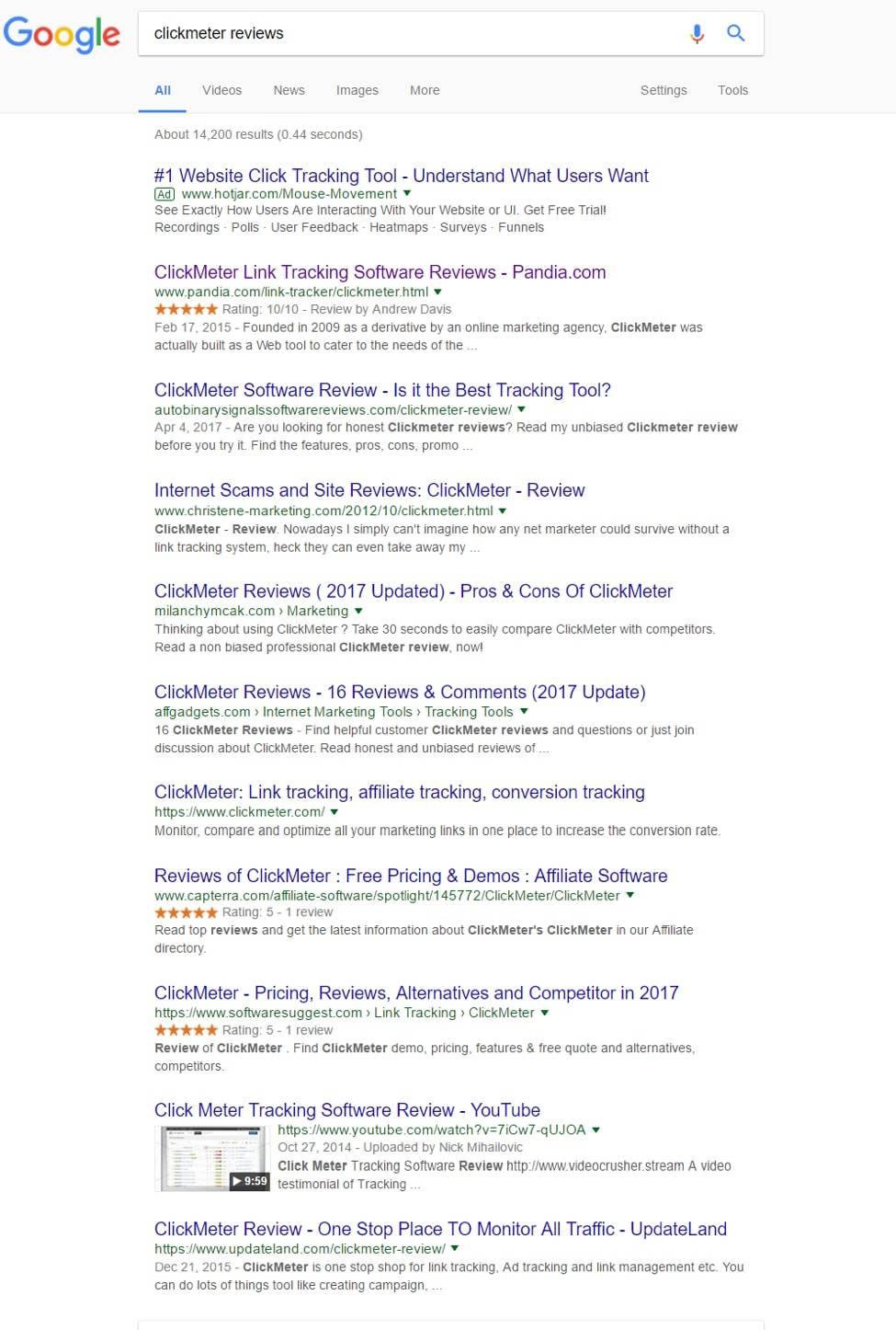 Clickmeter Reviews SERPs