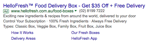 HelloFresh Adwords Ad