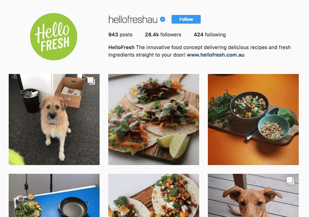 HelloFresh Instagram Page