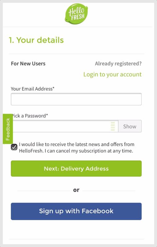 HelloFresh Mobile Checkout