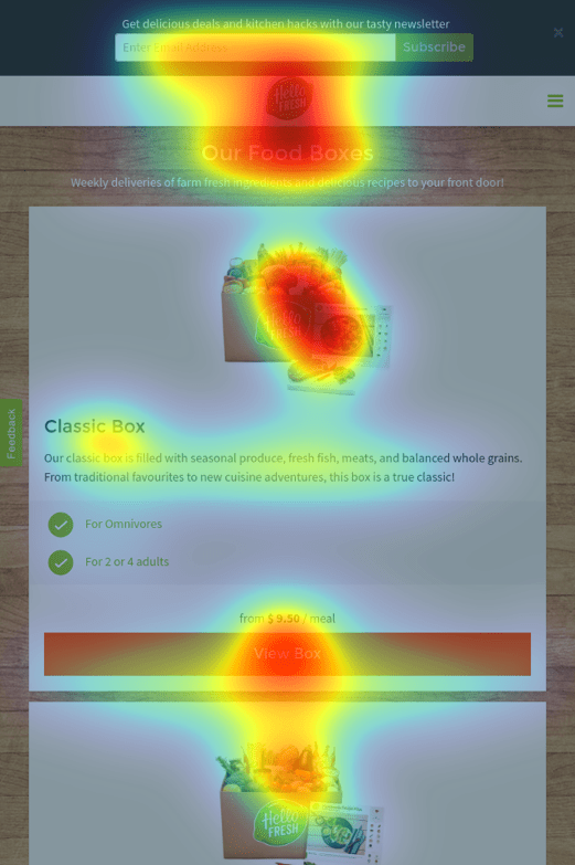 Mobile Select a Box Size Heatmap