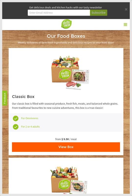 HelloFresh Mobile Select a Box Size