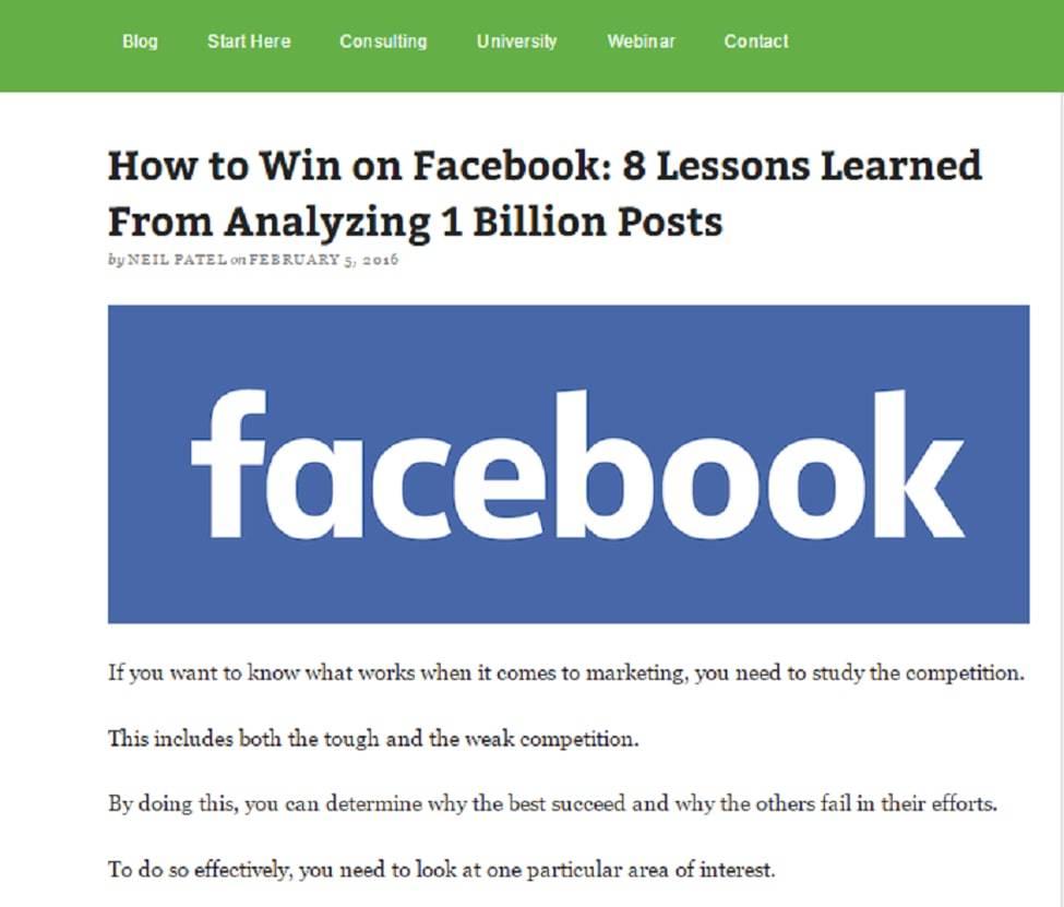 Neil Patel Facebook Analysis