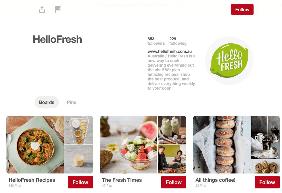 HelloFresh Pinterest Page