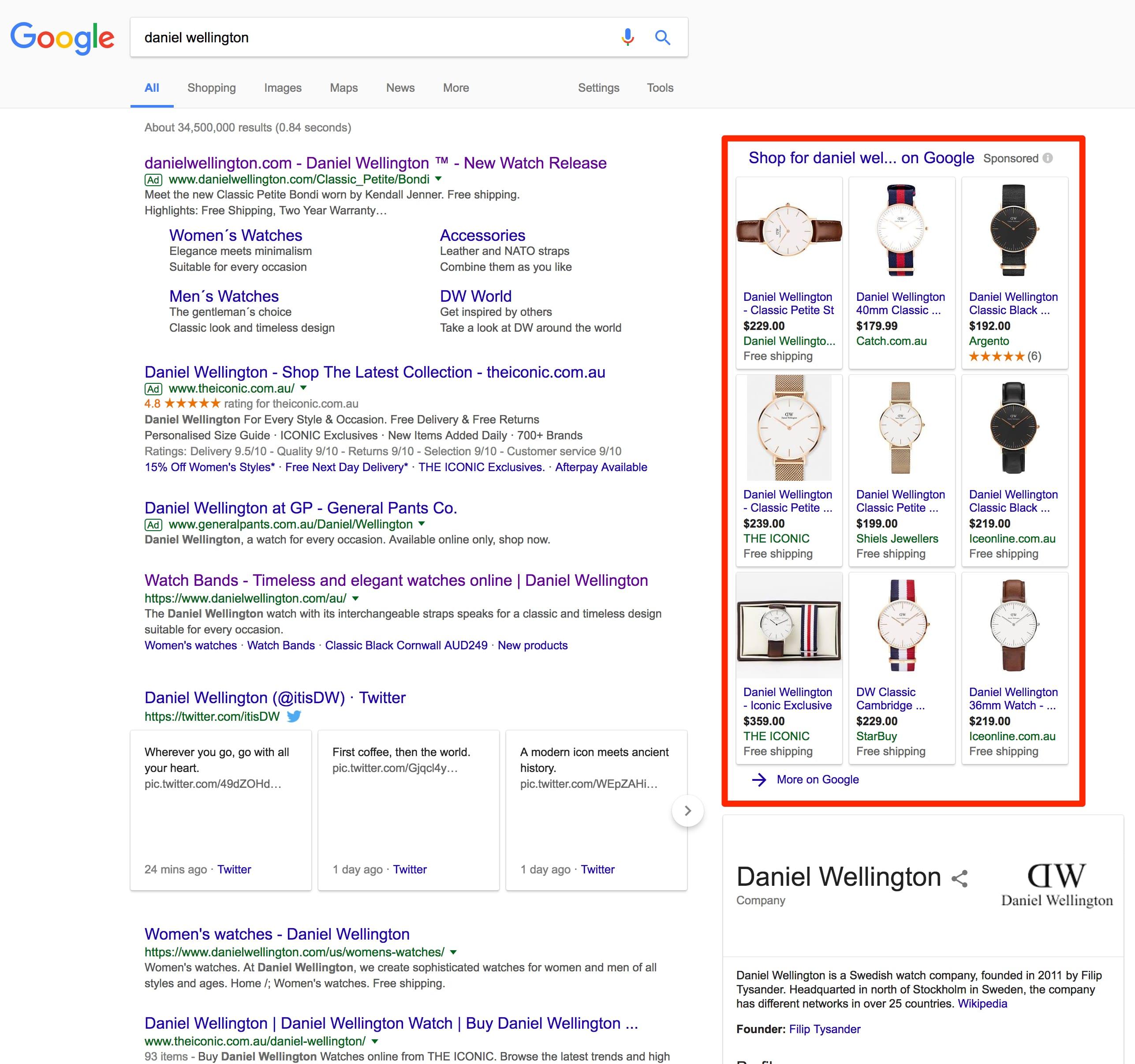 Daniel Wellington Google Shopping