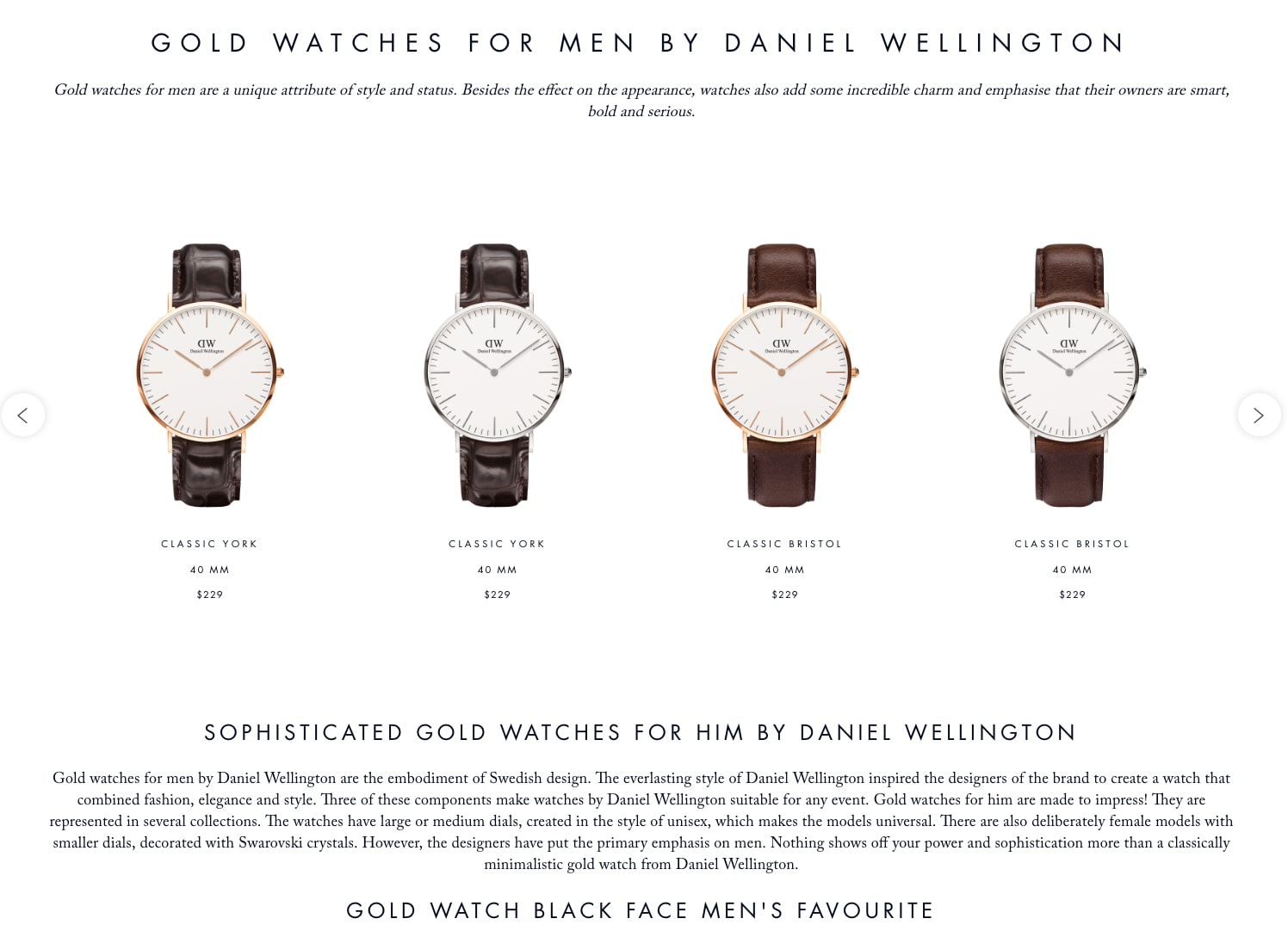 Gold watches page