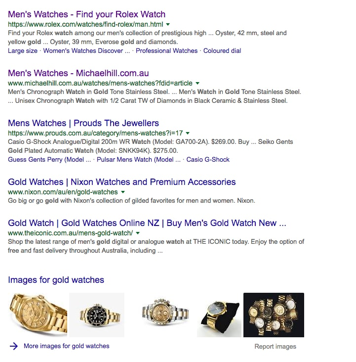 Mens Watches Organic SERPs