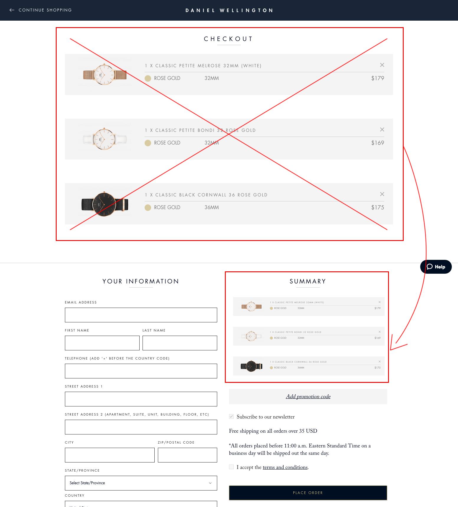 New Checkout Page Mockup