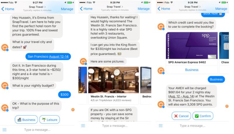 SnapTravel Facebook messenger bot